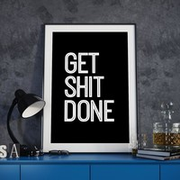 Get Shit Done Life Motto Canvas Paintings Black White Typography Motivational Poster Print Wall Art Pictures Home Office Decor