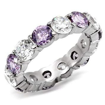 Vintage Rings TK109 Stainless Steel Ring with AAA Grade CZ in Amethyst