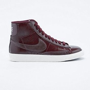 Nike Premium Mid-Top Leather Blazer Trainers in Burgundy - Urban Outfitters