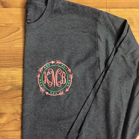 Tribal Framed Initial Monogrammed Long Sleeve T-shirt