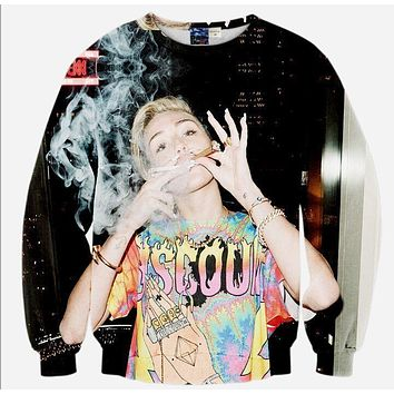 Miley Cyrus All Over Print Hannah Montana Smoking Weed Joint And Blunt In The Studio Crew Neck Sweatshirt