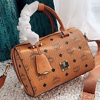 MCM New fashion more letter leather pillow shape shoulder bag crossbody bag handbag Brown