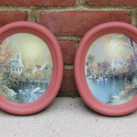 Victorian farmhouse salmon coral painted Homco oval frames with swan artwork
