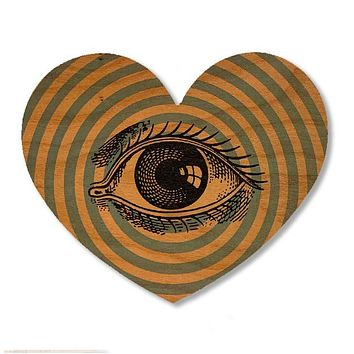 Wood Card Eye Heart