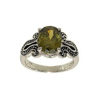 Unique Hand Set Oval Olive Green Cubic Zirconia Silvertone Fashion Ring with Black Loop Sides