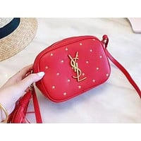 YSL fashion ladies casual shoulder bag selling embossed shopping small bag Red