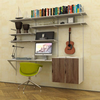 Wall Mounted Aluminum Desk with shelves and 2 Door Cabinet