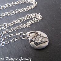 Tiny bunny necklace fine silver Easter jewelry