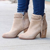 Not Rated: Chamonix Suede Perforated + Tassel Bootie {Cream}