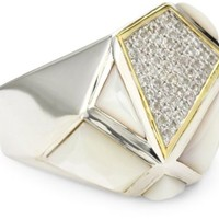 """Kara Ross """"Pyramid"""" Mother-Of-Pearl and White Sapphires Gemstone Ring, Size 7"""