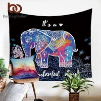 Colorful Psychedelic Elephant Tapestry