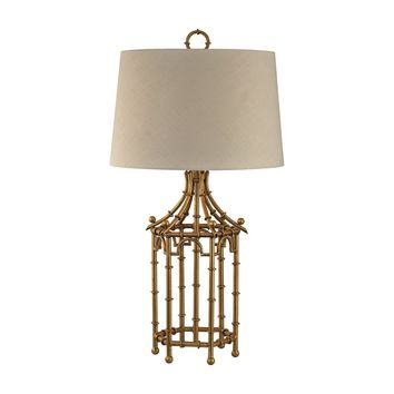 Bamboo Birdcage Lamp Gold Leaf