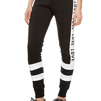 Love Stripe And Foldover Waist Graphic Fleece Joggers
