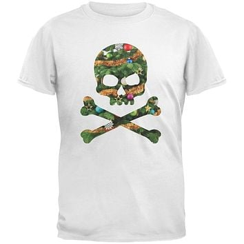 Skull And Crossbones Christmas Tree Cut Out White Youth T-Shirt