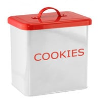White And Red Kitchen Canister For Cookies