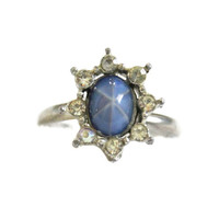 Vintage Blue Starburst Cabochon Ring With Rhinestones In Silver Tone Metal Cocktail Ring Adjustable Ring