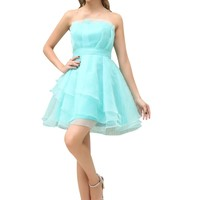Graceful Girls' Strapless A-line Tiered Short Homecoming Party Dresses 3376