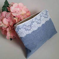 Lace And Chambray - Cosmetic Bag - Bridesmaids Gifts - Country Make Up Bag - Rustic Wedding Gift - Travel Bag - Toiletry Bag - Shabby Chic