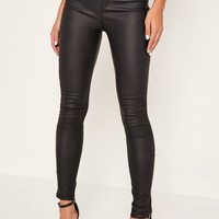 Missguided - Black Vice High Waisted Coated Ankle Zip Skinny Jeans