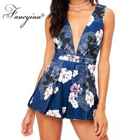 FANCYINN Women Sleeveless Low cut V Neckline Romantic printed Thick straps Short Jumpsuit