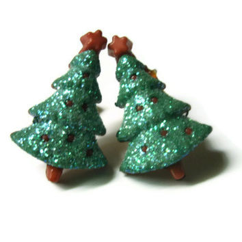 Christmas Tree Earrings, Green Glitter Coating, Gold Toned  Nickel Free Brass Posts
