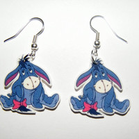 Eeyore with his pink bow  from Winnie The Pooh Story book Earrings
