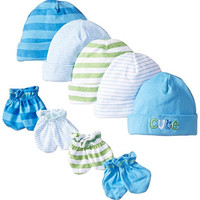 Gerber Baby Newborn 5 Pack Caps (0-6 months) and 4 Pack Mitten (0-3 months) Bundle Cute for Boys, Blue