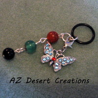 Butterfly and Multi Dyed Agate Dangle MOD Charm Vaporizer MOD Charm
