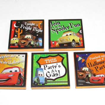 Disney Cars Halloween  Note Pads Set of 5 - Excellent Halloween Party Favors - Halloween Class Gifts