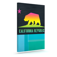"Fimbis ""California"" Multicolor Teal Canvas Art"