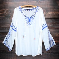 maldives free spirited front tie embroidered tunic