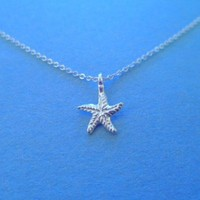 Ariel Organic Starfish, Sterling Silver pendant and chain, Necklace