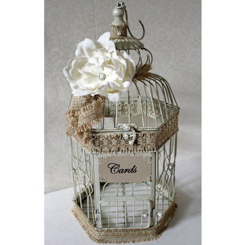 Wedding Birdcage Card Holder Rustic Chic Vintage Ivory/Tan, Natural Cream & Pearl. Wedding Card Box. Wedding Money Box