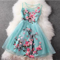 Luxury Designer Gorgeous Embroidered Lace Dress - Light Blue