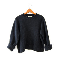 Vintage charcoal gray sweater. Cropped sweater. Boxy pullover. ribbed knit sweater.