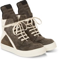Rick Owens - Panelled Suede High-Top Sneakers   MR PORTER