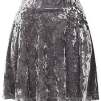 Grey Crush Velvet Skater Skirt - The Velvet Touch  - New In