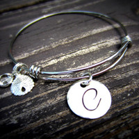 Alex and Ani Inspired Bracelet-Stainless Steel Stackable Wire Bangle Initial Charm Bracelet-Personalized Bridesmaid Gift
