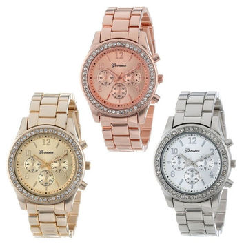 Faux Chronograph Quartz Classic Round Ladies Women Crystals Watch (With Thanksgiving&Christmas Gift Box)= 1956515012