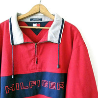 Vintage 1990s TOMMY HILFIGER Striped Spell Out Embroidered Drawstring Pullover Sweatshirt Sz XL