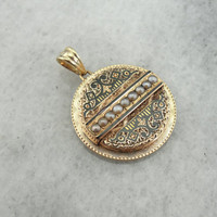 Victorian Seed Pearl and Enamel Disc Pendant in Yellow Gold M35FU4-D