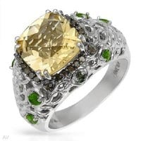 NEW 4.04 CTW Citrine Sterling Silver Ring SIZE 6,7 FREE SHIPPING