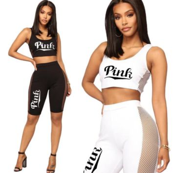 Victoria PINK Fashion new letter print mesh vest top and pants sexy two piece suit women two color