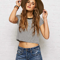 Don't Ask Why Ringer Crop T-Shirt , Charcoal