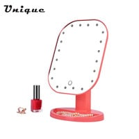 Professional 20 LED Light ABS Touch Screen Makeup Mirror Women Beauty Cosmetic Square Vanity Mirror Desk Stand Makeup Mirror