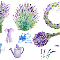hand painted watercolour lavender blue purple flowers herb collection digital clipart printable instant download scrapbook watercolor