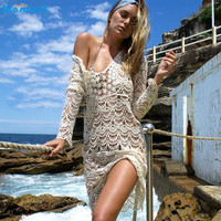 2017 Sexy Hollow Beach Cover Up Dress Sarong Bathing Suit Coverups Beach tunic Cover-Ups Swimsuit Swimwear Scarf Pareo Decc23