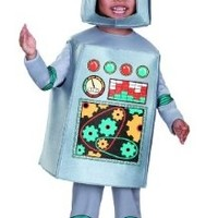 Artsy Heartsy Retro Robot Costume, Silver/Red/Blue/Yellow, Large