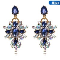 New Colorful Flower Big Brand Design Luxury Pendant Crystal Stud Earrings Gem Statement Earrings Jewelry Freeshipping