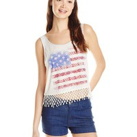 My Michelle Junior's Crop Knit Tank with Screen Print and Novelty Hem Detail